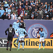 NEW YORK, NEW YORK - March 12:  New York City FC fans watching the action during the NYCFC Vs D.C. United regular season MLS game at Yankee Stadium on March 12, 2017 in New York City. (Photo by Tim Clayton/Corbis via Getty Images)