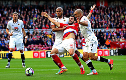 Alvaro Negredo of Middlesbrough goes down under the challenge from Younes Kaboul of Watford in the penalty area but no foul is given - Mandatory by-line: Robbie Stephenson/JMP - 16/10/2016 - FOOTBALL - Riverside Stadium - Middlesbrough, England - Middlesbrough v Watford - Premier League