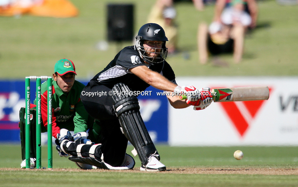 Daniel Vettori plays a shot. New Zealand Black Caps v Bangladesh. 1st ODI. McLean Park, Napier. Friday 05 February 2010  Photo: John Cowpland/PHOTOSPORT