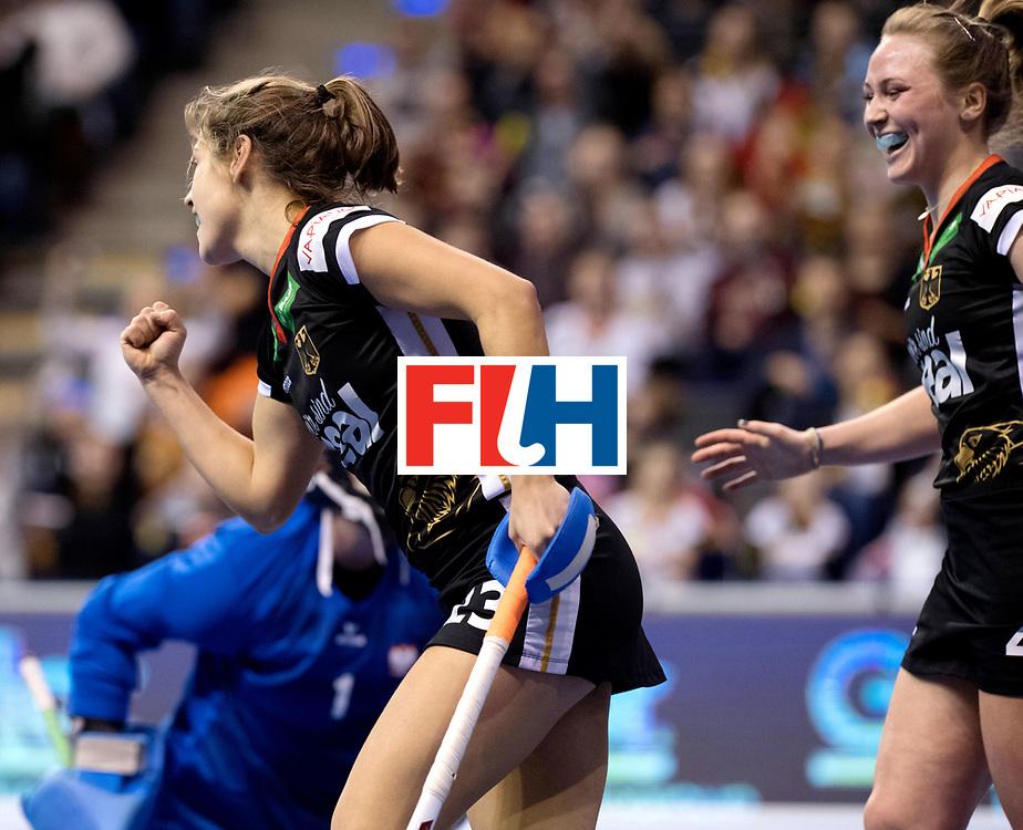 BERLIN - Indoor Hockey World Cup<br /> Quarterfinal 3: Germany - Poland<br /> foto: Marie M&auml;vers scored.<br /> WORLDSPORTPICS COPYRIGHT FRANK UIJLENBROEK