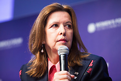 Sophie Bellon chairwoman Sodexo speaks during the opening session of the Women's Forum Global Meeting in Paris on November 15, 2018. Photo by Raphaël Lafargue/ABACAPRESS.COM