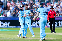 Mark Wood of England celebrates with teammates after taking the wicket of James Neesham of New Zealand - Mandatory by-line: Robbie Stephenson/JMP - 03/07/2019 - CRICKET - Emirates Riverside - Chester-le-Street, England - England v New Zealand - ICC Cricket World Cup 2019 - Group Stage