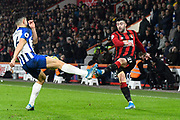 Diego Rico (21) of AFC Bournemouth has his cross blocked by Steven Alzate (46) of Brighton and Hove Albion during the Premier League match between Bournemouth and Brighton and Hove Albion at the Vitality Stadium, Bournemouth, England on 21 January 2020.