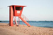 An empty lifeguard stand on Waikiki Beach.