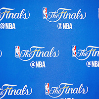 08 June 2016: NBA Finals logo is seen in the interview room during the Cleveland Cavaliers 120-90 victory over the Golden State Warriors, during Game Three of the 2016 NBA Finals at the Quicken Loans Arena, Cleveland, Ohio, USA.
