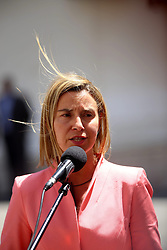 20.05.2015, Ramallah, PSE, Außenbeauftragte der Europäischen Union Federica Mogherini in Palästina, im Bild die Außenbeauftragte der Europäischen Union - Federica Mogherini bei ihrem Treffen mit dem Palästinensischen Präsidenten Mahmud Abbas // European Union foreign policy chief Federica Mogherini, speaks to the press following her meeting with Palestinian President Mahmoud Abbas at his headquarters in the West Bank city of Ramallah. Mogherini is on a two-day official visit to Israel and the Palestinian territories, Palestine on 2015/05/20. EXPA Pictures © 2015, PhotoCredit: EXPA/ APAimages/ Shadi Hatem<br /> <br /> *****ATTENTION - for AUT, GER, SUI, ITA, POL, CRO, SRB only*****