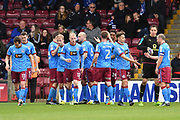 Scunthorpe United celebrate goal scored by Scunthorpe United forward Ivan Toney (24) to go 2-0 during the EFL Sky Bet League 1 match between Scunthorpe United and Chesterfield at Glanford Park, Scunthorpe, England on 17 April 2017. Photo by Ian Lyall.