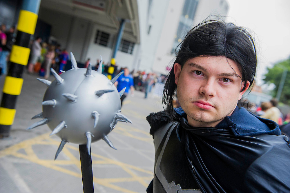 Rob Klejnow, 21, playing Hogun The Grim, a warrier from Marvel's Thor stories. London Film and Comic Con 2014, (LFCC), at Earls Court, London, UK.
