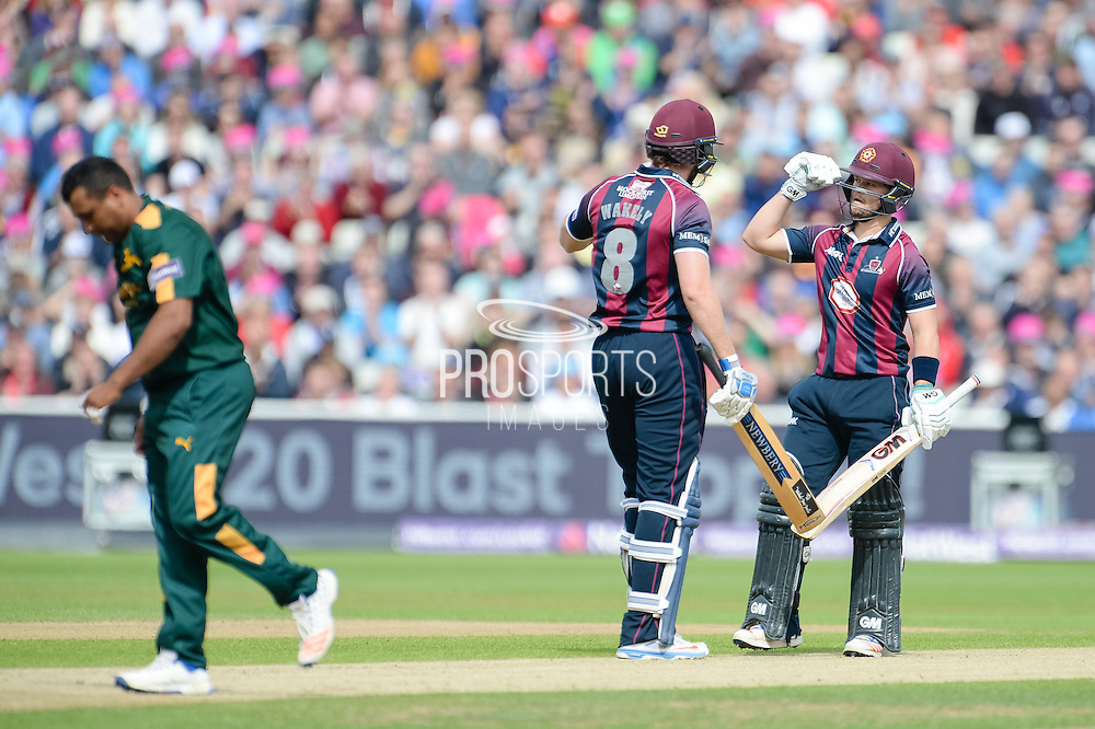 Alex Wakely and Ben Duckett of Northants Steelbacks celebrate another bounday of the bowling of Samit Patel during the NatWest T20 Blast Semi Final match between Nottinghamshire County Cricket Club and Northamptonshire County Cricket Club at Edgbaston, Birmingham, United Kingdom on 20 August 2016. Photo by David Vokes.