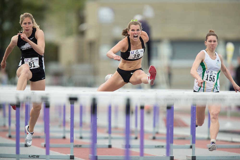 London, Ontario ---2014-05-17--- Robin Bone competes in the 100m hurdles at the Bob Vigars Meet at TD Waterhouse Stadium in London, Ontario May 17, 2014.<br /> GEOFF ROBINS Mundo Sport Images