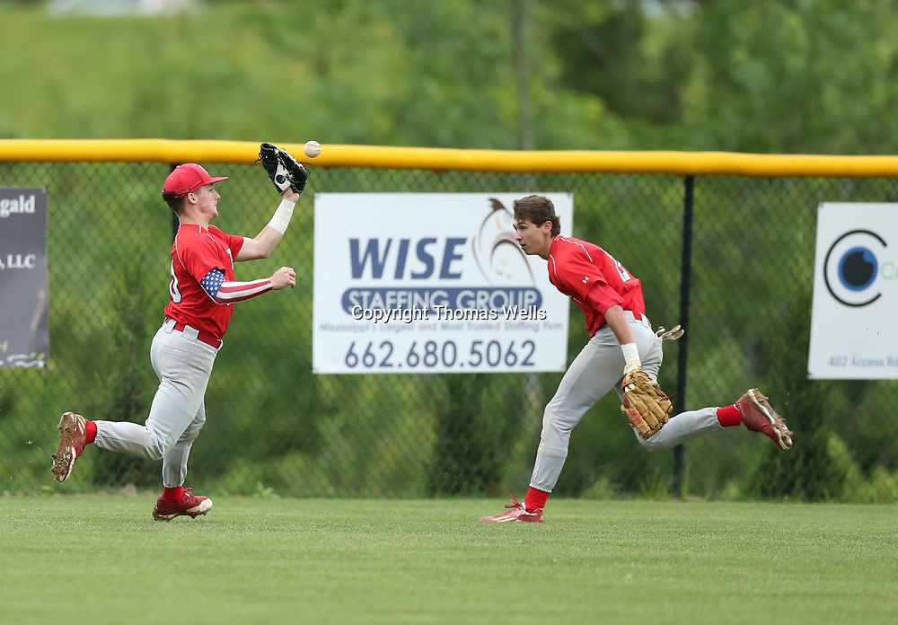 Pine Grove left fielder Cooper Parks drops a fly ball in the first inning which helped the TCPS Eagles score 12 runs and take a 15-0 lead after just two innings of play.