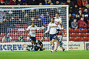 Tom Barkhuizen (29) of Preston North End FC scores a goal and makes the score 1-0 to Preston North End FC during the EFL Sky Bet Championship match between Barnsley and Preston North End at Oakwell, Barnsley, England on 21 January 2020.