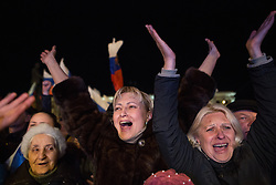 Celebrations after the Referendum Results. Pro-Russian Crimeans gather to celebrate the results of the referendum in Simferopol's Lenin Square, Simferopol, Sunday 16th March 2014. Picture by Daniel Leal-Olivas / i-Images