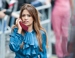 A member of press speaks on the phone during the wait for The Duke and Duchess of Cambridge and their newborn son at St.Mary's hospital in London following the birth of the Royal baby,<br /> London, United Kingdom<br /> Tuesday, 23rd July 2013<br /> Picture by Piero Cruciatti / i-Images