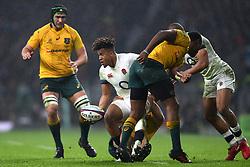 November 18, 2017 - London, England, United Kingdom - England's Anthony Watson off loads during Old Mutual Wealth Series between England against Argentina at Twickenham stadium , London on 11 Nov 2017  (Credit Image: © Kieran Galvin/NurPhoto via ZUMA Press)