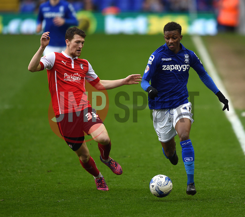Rotherham United's Richard Smallwood closes in on Birmingham City's Demarai Gray - Photo mandatory by-line: Paul Knight/JMP - Mobile: 07966 386802 - 03/04/2015 - SPORT - Football - Birmingham - St Andrew's Stadium - Birmingham City v Rotherham United - Sky Bet Championship