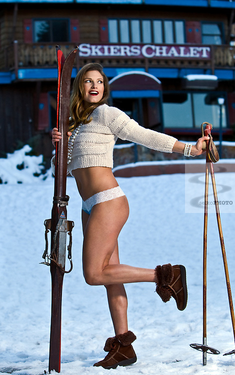 Julia Mancuso around old Lift 1 and the Skier's Challet at the base of Ajax Mountain in Aspen, CO, She is sporting the 1950's pin-up girl look as she models the panties she will be selling.