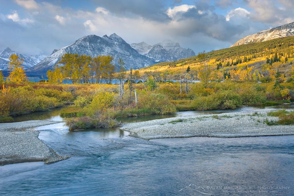Autumn along the Saint Mary River, Glacier National park Montana USA