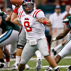 Sep 11, 2010; New Orleans, LA, USA; Mississippi Rebels quarterback Jeremiah Masoli (8) throws a pass against the Tulane Green Wave during the first half at the Louisiana Superdome.  Mandatory Credit: Derick E. Hingle
