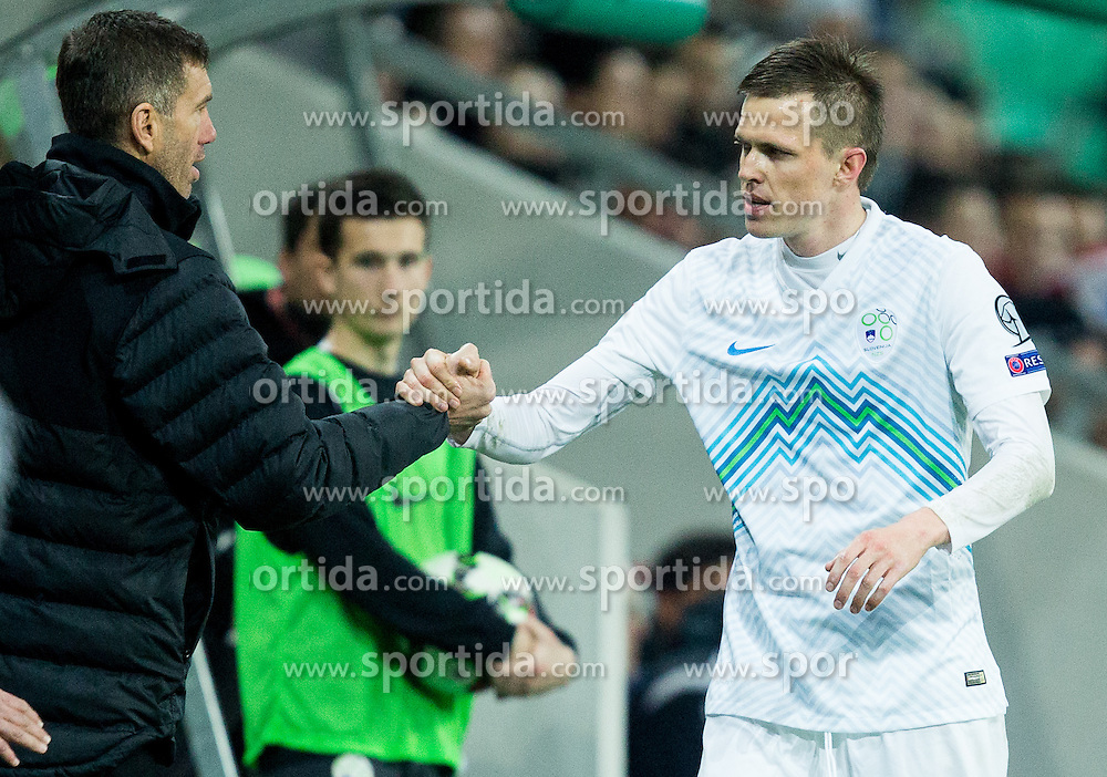 Srecko Katanec, head coach of Slovenia and Josip Ilicic of Slovenia during football match between NationalTeams of Slovenia and San Marino in Round 5 of EURO 2016 Qualifications, on March 27, 2015 in SRC Stozice, Ljubljana, Slovenia. Photo by Vid Ponikvar / Sportida