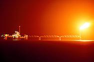 Oil rig in the Persian Gulf at Ra' As Saffaniyaa, Saudi Arabia.