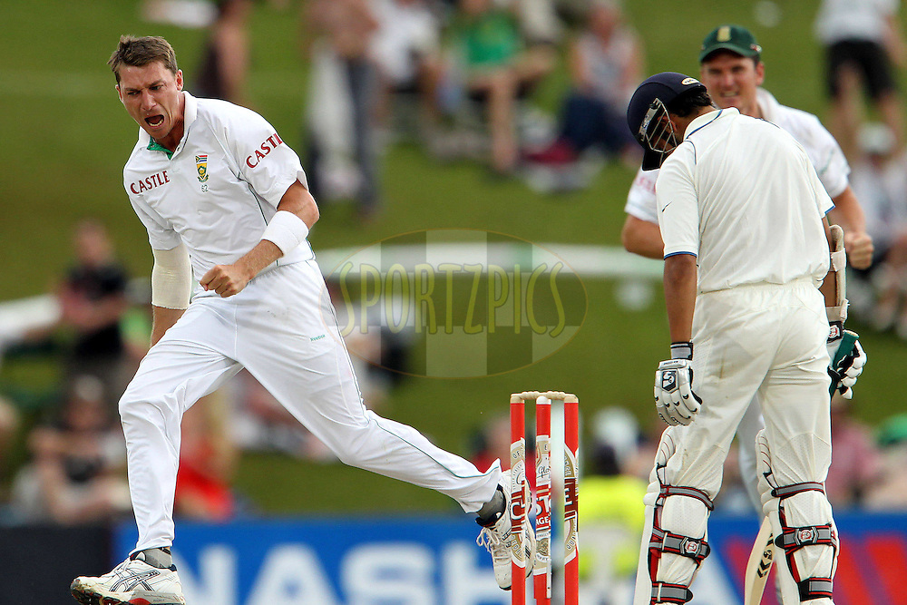 Dale Steyn of South Africa celebrates the wicket of Gautam Gambhir of India during day 3 of the first ( 1st ) Test Match between South Africa and India held at Supersport Park in Centurion, Gauteng, South Africa on the 18th December 2010..Photo by Ron Gaunt/BCCI/SPORTZPICS