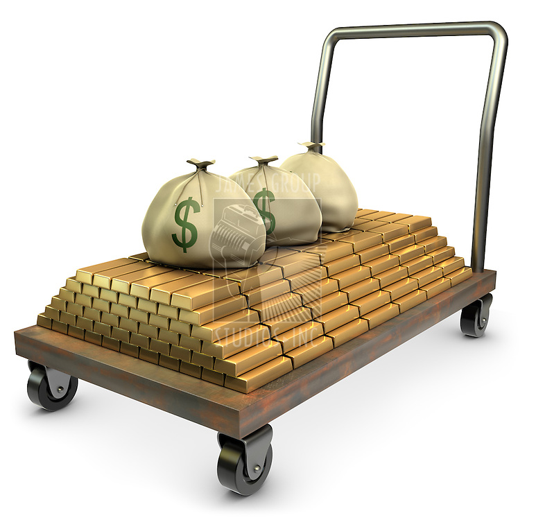 Gold and sacks of cash on a dolly over a white background
