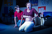 How the World Began by Catherine Trieschmann at the Arcola Theatre, London, November 2012. Out of Joint and the Arcola Theatre are collaborating on How The World Began, Catherine Trieschmann's play set in a school in rural Kansas, in which a science teacher clashes with a devout and disturbed pupil. Featuring Anna Francolini, Ciaran McIntyre and Perry Millward. Directed by Des Kennedy