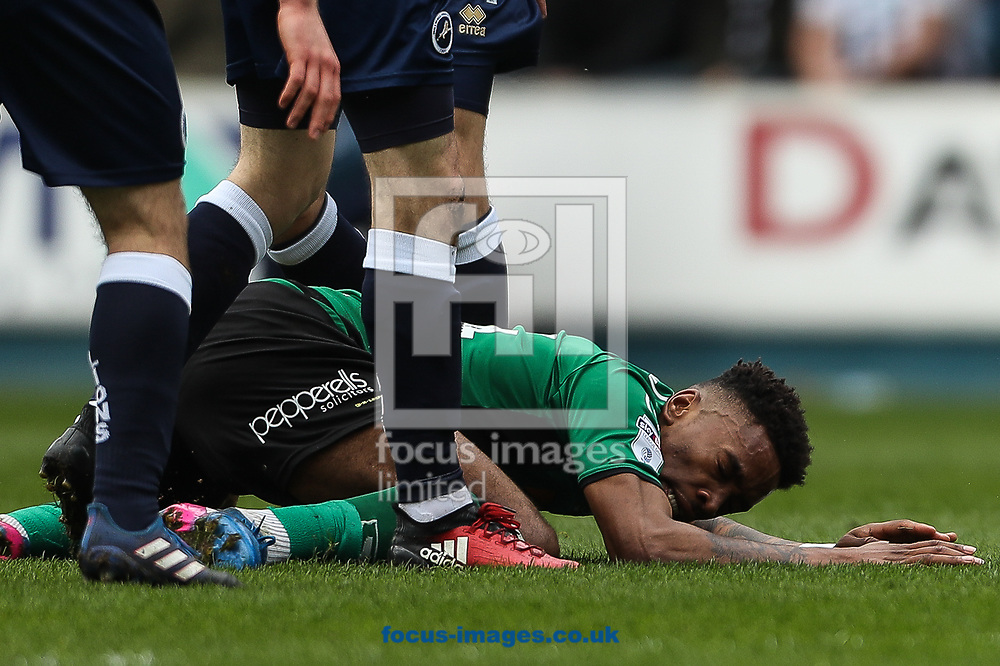 Ivan Toney of Scunthorpe United after a tackle during the Sky Bet League 1 match at The Den, London<br /> Picture by Toyin Oshodi/Focus Images Ltd 07984788195<br /> 01/04/2017