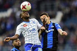 January 28, 2018 - Gent, belgiQUE - GENT, BELGIUM - JANUARY 28 : Mamadou Sylla forward of KAA Gent battles for the ball with Brandon Mechele defender of Club Brugge during the Jupiler Pro League match between KAA Gent and Club Brugge at the Ghelamco Arena on January 28, 2018 in Gent, Belgium , 28/01/2018 (Credit Image: © Panoramic via ZUMA Press)