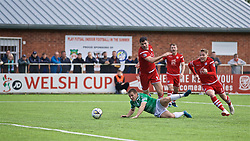 RHOSYMEDRE, WALES - Sunday, May 5, 2019: Connah's Quay Nomads's Michael Wilde and The New Saints' Jack Bodenham during the FAW JD Welsh Cup Final between Connah's Quay Nomads FC and The New Saints FC at The Rock. (Pic by David Rawcliffe/Propaganda)