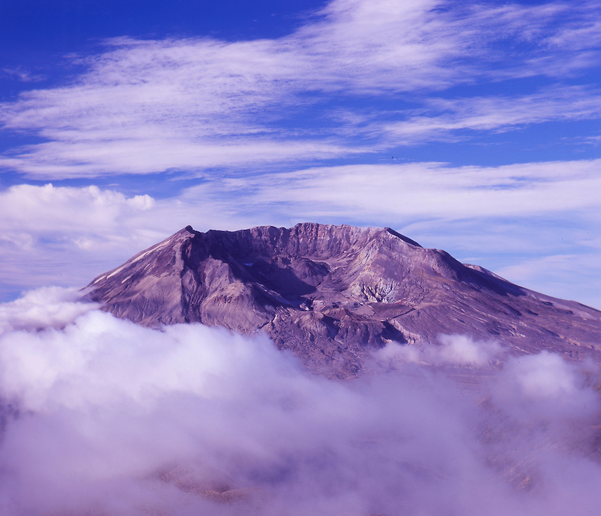 Mt. St. Helens and Clouds from Mt. Margaret Backcountry, Mt. St. Helens National Volcanic Monument, Washington, US