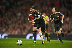 LONDON, ENGLAND - Wednesday, October 28, 2009: Liverpool's Emiliano Insua in action against Arsenal during the League Cup 4th Round match at Emirates Stadium. (Photo by David Rawcliffe/Propaganda)
