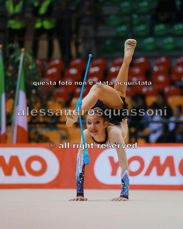 Rachele Bacciarini atleta della Società Terranuova durante la seconda prova del Campionato Italiano di Ginnastica Ritmica.<br /> La gara si è svolta a Desio il 31 ottobre 2015.