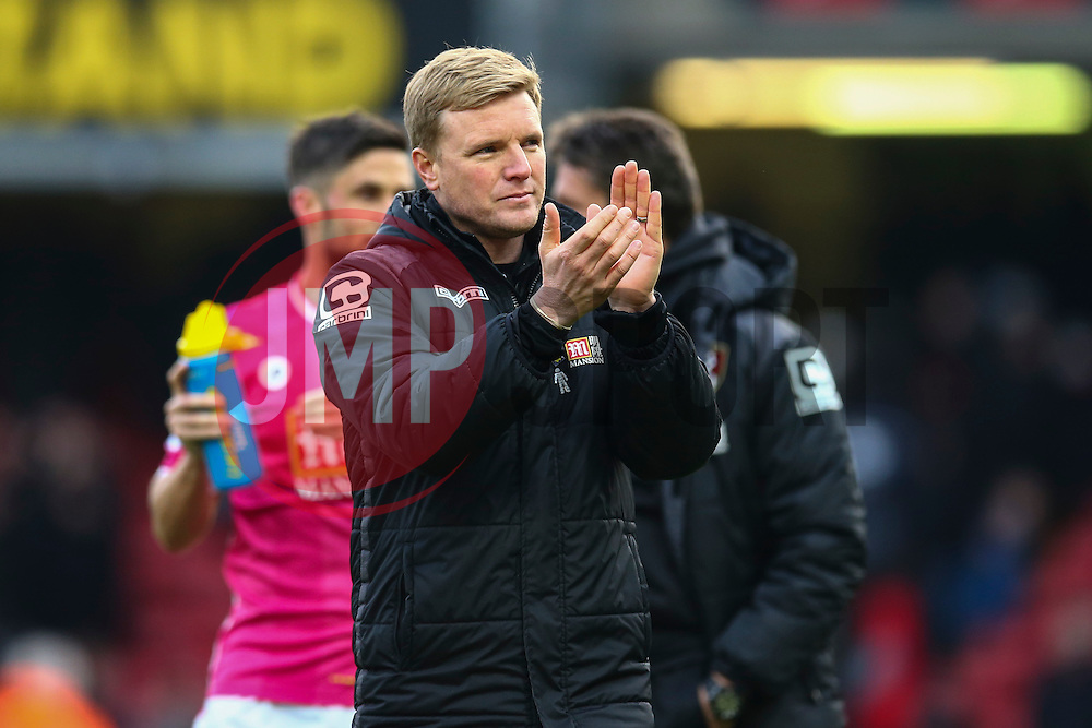 Bournemouth Manager Eddie Howe applauds the fans after the match - Mandatory byline: Jason Brown/JMP - 27/02//2016 - FOOTBALL - Vicarage Road - Watford, England - Watford v Bournemouth - Barclays Premier League