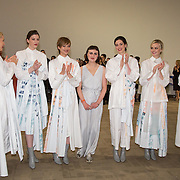 13.06.2016              <br /> Liadan Scott Keogh centre pictured with models wearing her winning designs at the much anticipated Limerick School of Art & Design, LIT, (LSAD) Graduate Fashion Show on Thursday 12th May 2016. <br /> <br /> Liadán won the IFIL, AIB Graduate Business Development Award worth €5,000 which includes a three-month paid work experience with leading London-based Irish Fashion Designer Richard Malone.<br /> <br /> The show took place at the LSAD Gallery where 27 graduates from the largest fashion degree programme in Ireland showcased their creations. Ranked among the world's top 50 fashion colleges, Limerick School of Art and Design is continuing to mold future Irish designers.<br /> Picture: Alan Place/Fusionshooters