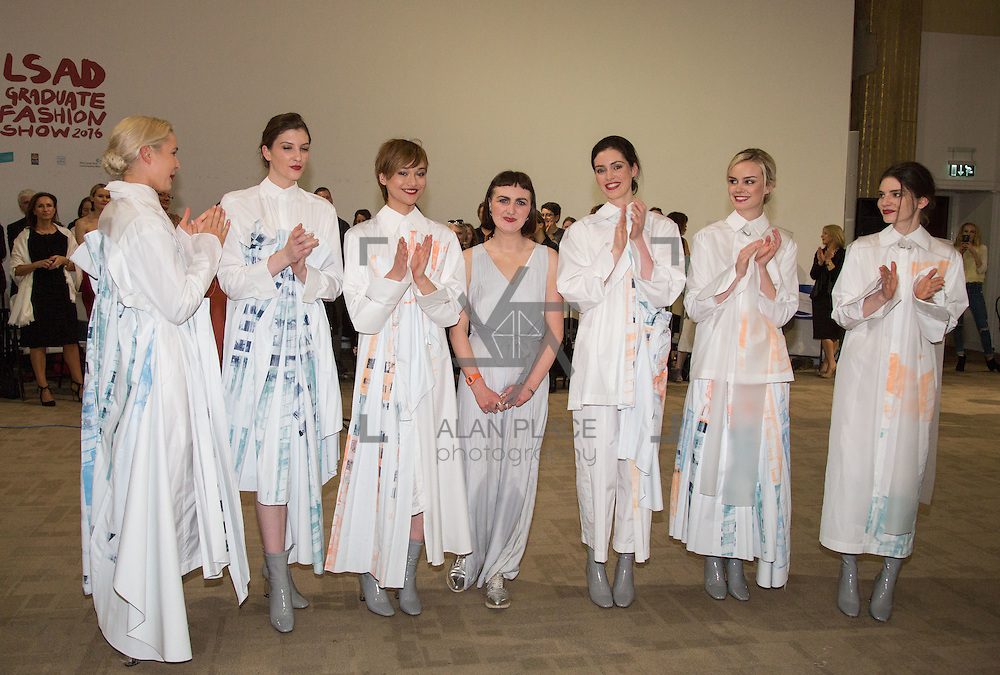 13.06.2016              <br /> Liadan Scott Keogh centre pictured with models wearing her winning designs at the much anticipated Limerick School of Art &amp; Design, LIT, (LSAD) Graduate Fashion Show on Thursday 12th May 2016. <br /> <br /> Liad&aacute;n won the IFIL, AIB Graduate Business Development Award worth &euro;5,000 which includes a three-month paid work experience with leading London-based Irish Fashion Designer Richard Malone.<br /> <br /> The show took place at the LSAD Gallery where 27 graduates from the largest fashion degree programme in Ireland showcased their creations. Ranked among the world&rsquo;s top 50 fashion colleges, Limerick School of Art and Design is continuing to mold future Irish designers.<br /> Picture: Alan Place/Fusionshooters