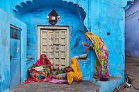 Inde, Rajasthan, Jodhpur la ville bleue, marchandes de legumes // India, Rajasthan, Jodhpur, the blue city, vegetable market