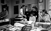 Staff at the Factory Records offices in Palatine Road, Manchester 1989