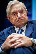 Billionaire and philantropist George Soros at a panel debate at the annual IMF meeting in Washingotn