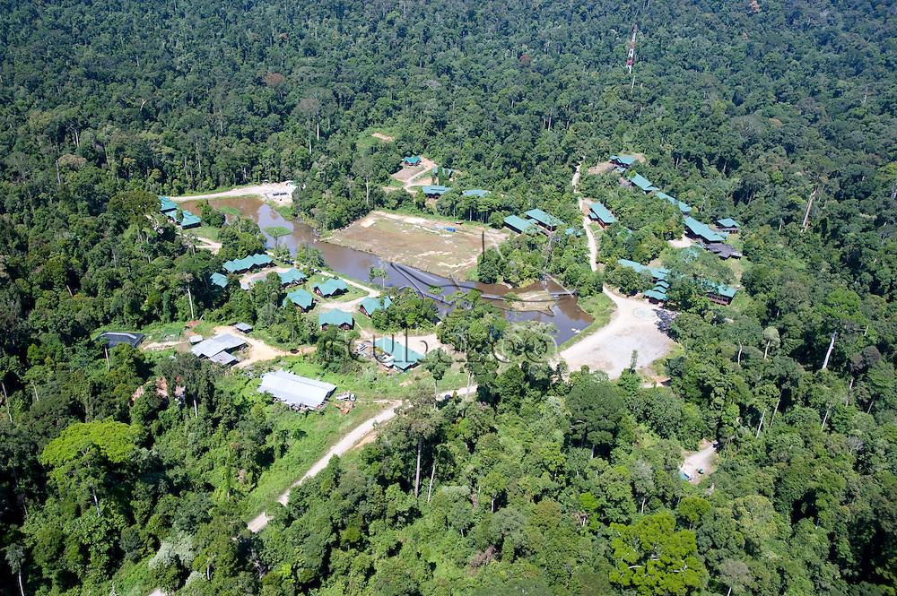 Maliau Basin Studies Centre viewed from a helicopter, Maliau Basin, Sabah, Borneo, East Malaysia.
