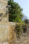 SANTILLANA DEL MAR, SPAIN - April 20 2018 - Stone wall texture in town centre of Santillana del Mar, Cantabria, Spain.