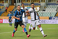 Parma Calcio's Italian defender Giuseppe Pezzella holds off Inter's Italian defender Danilo D'Ambrosio to guide the ball out of play during the Serie A match at Stadio Ennio Tardini, Parma. Picture date: 28th June 2020. Picture credit should read: Jonathan Moscrop/Sportimage