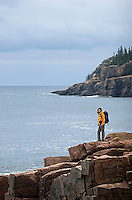 Robin de La Fuente hiking in Acadia National Park. Bar Harbor Maine.<br />