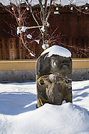 "Jizo in Snow - ""Jizo"" images and statues are popular in Japan as Bodhisattva who console beings awaiting rebirth and travelers. These jizos in snow are at Saisho-in temple, in Hirosaki Aomori, Japan's winter heartland. Jizo are often found along roadsides, paths or even street corners."