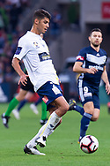 MELBOURNE, AUSTRALIA - APRIL 14: Jonathan Aspropotamitis (2) of the Mariners passes the ball during round 25 of the Hyundai A-League match between Melbourne Victory and Central Coast Mariners on April 14, 2019 at AAMI Park in Melbourne, Australia. (Photo by Speed Media/Icon Sportswire)