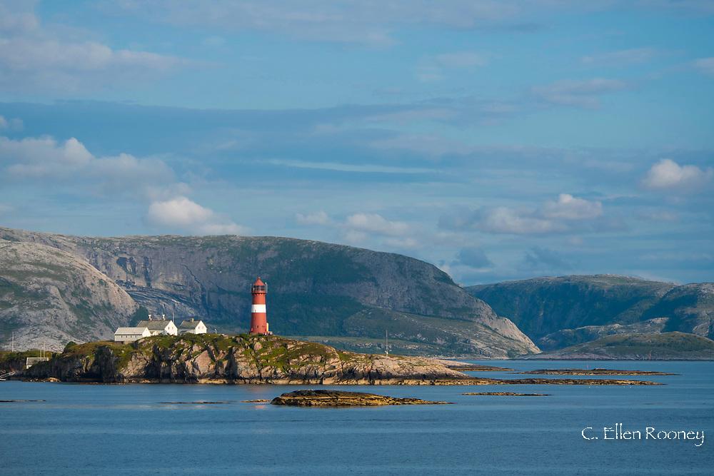 Bulholmrasa lighthouse on a rocky peninsula  Norway, Europe