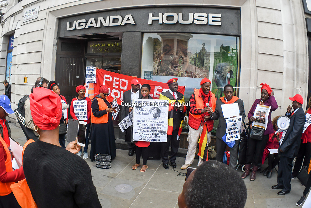 People power of Ugandan protest against Museveni of his 33 years ruling of brutality, torture, killing and murder anyone opposition Museveni. Protestors demand Museveni to release the opposition Uganda opposition pop star Bobi Wine his real name Robert Kyagulanyi and the supporters outside Uganda House on 5th September 2018, London, UK.