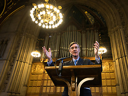 © Licensed to London News Pictures . 02/10/2017. Manchester, UK. JACOB REES-MOGG speaking at a fringe , right-wing Bruges Group event at Manchester Town Hall during the second day of the Conservative Party Conference at the Manchester Central Convention Centre . Photo credit: Joel Goodman/LNP