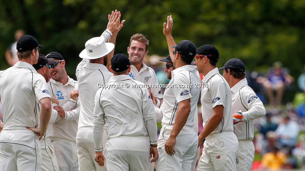 Tim Southee celebrates a wicket. Day 2, ANZ Boxing Day Cricket Test, New Zealand Black Caps v Sri Lanka, 27 December 2014, Hagley Oval, Christchurch, New Zealand. Photo: John Cowpland / www.photosport.co.nz